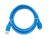 Blå kabelusb till microusb 3 Arkivfoto