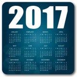 Blå kalender 2017 vektor illustrationer