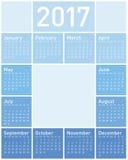 Blå kalender för året 2017 royaltyfri illustrationer