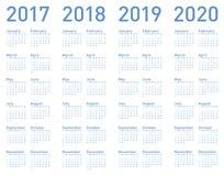 Blå kalender för vektor för år 2017, 2018, 2019 och 2020 Royaltyfria Bilder