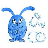 Blå kanin, kanin inbjudan Teckning i vattenfärg och grafisk stil för designen av tryck, bakgrunder, kort stock illustrationer