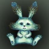 Blå kanin med forsar av unga växter royaltyfri illustrationer