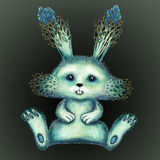 Blå kanin med forsar av unga växter Royaltyfri Bild