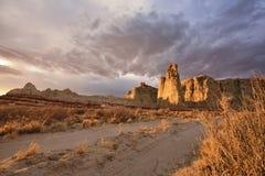 Blå kanjon, avsnitt av Moenkopi Wash i nordostliga Arizona Royaltyfria Bilder