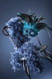 blå karnevalmaskering Arkivbilder