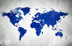 Blå kartografi av världen Arkivfoto