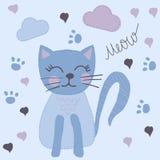 Blå katt för gullig tecknad film för hand utdragen royaltyfri illustrationer