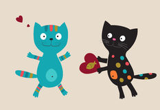 Blå katt och svart katt med hjärta Arkivbilder