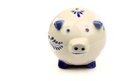 blå keramisk delft för grupp piggy white Royaltyfria Foton