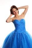 blå klänning Fotografering för Bildbyråer
