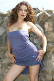 blå klänning Arkivbild