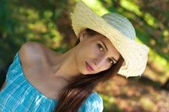 blå klänningflicka Royaltyfri Fotografi