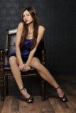 blå klänningflicka Royaltyfria Foton