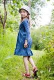 blå klänningflicka little Royaltyfri Foto