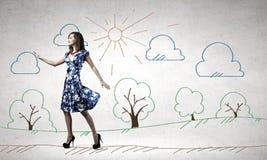 blå klänningkvinna Royaltyfri Bild