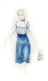 blå klänningmodeillustration Royaltyfri Foto
