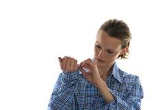 Blå klänningskjorta för kvinna arkivbild