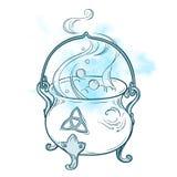Blå kokande magisk kittelvektorillustration Räcka den utdragna wiccan designen, astrologi, alkemi, magiskt symbol över abstrakt b royaltyfri illustrationer