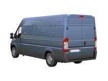 Blå kommersiell leveransskåpbil Arkivfoto