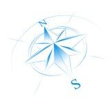 blå kompass Arkivfoto