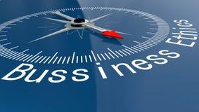 Blå kompass med ord för affärsetik vektor illustrationer