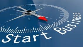 Blå kompass med startaffärsord Arkivbild