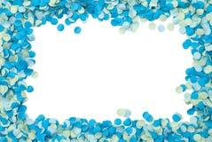 blå konfettiram Arkivbilder