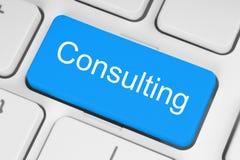 Blå konsulterande knapp
