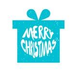 Blå kontur av gåvan för ` s för nytt år med glad jul för bokstävertext på vit bakgrund vektor illustrationer