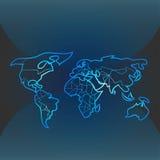 Blå konturvärldskarta Royaltyfri Foto