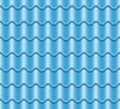Blå korrugerad tegelplattavektor Beståndsdel av taket seamless modell Fragment av takillustrationen Fotografering för Bildbyråer