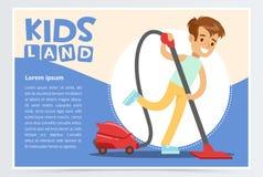 Blå kort eller affisch med den lyckliga tonåringpojken som gör ren golvet med dammsugare Unge som gör hem- rengöring Plan stil stock illustrationer