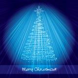 blå kortjul som skiner treen stock illustrationer