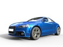 Blå kraftig bil Front View Arkivbild