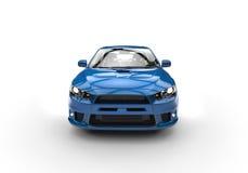 Blå kraftig sportbil på vit bakgrund Arkivbilder