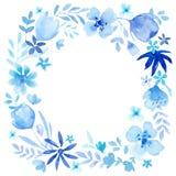 Blå kranssammansättning för vattenfärg Fotografering för Bildbyråer