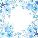 Blå kranssammansättning för vattenfärg Royaltyfri Foto
