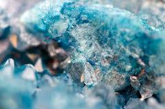 Blå kristallagat SiO2 Makro arkivbilder