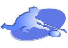 blå krullande symbolsspelarekvinna Royaltyfria Foton