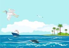 Blå kryssningeyelinersimning i havet, royaltyfria foton