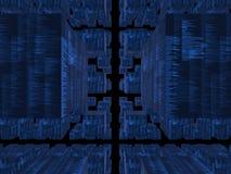 blå kubikdatabasfantasi Royaltyfri Foto