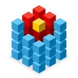 Blå kublogo med röda segment Arkivbild