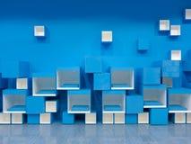 blå kubmodellwhite Arkivfoto