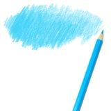 Blå kulör blyertspennateckning royaltyfri bild