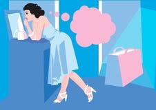 blå kvinna Royaltyfri Bild