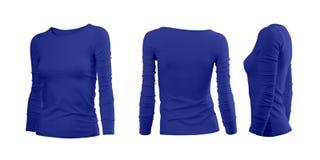 Blå kvinnas T-tröja Arkivfoton