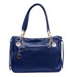 Blå kvinnlig handväska som isoleras på vit royaltyfri bild