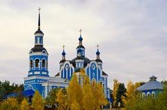 Blå kyrka in av Ukraina Arkivfoto