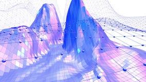 Blå låg poly fladdra yttersida som futuristisk miljö Blått polygonal geometriskt fladdra miljö eller pulserar royaltyfri illustrationer