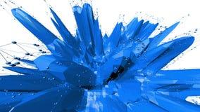 Blå låg poly omformande yttersida som geometriskt ingrepp Blått polygonal geometriskt omformande miljö eller pulserar stock illustrationer